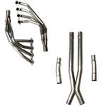 Texas Speed & Performance C6 Header Package: 1 7/8' Long Tube Headers(Coated), C6 3' Off-Road X-pipe and O2 Extension