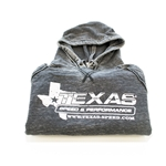 Texas Speed & Performance Gray Distressed Pull-Over Hoodie with White TSP Logo