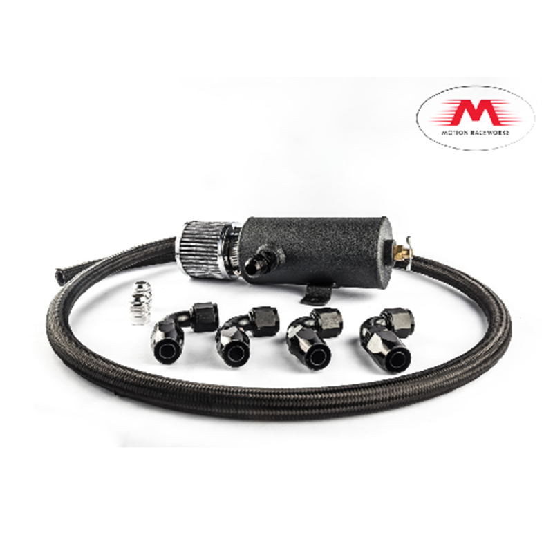 Motion Raceworks -10AN Wrinkle Black PCV Catch Can And Breather Combo Kit  with 10 Ft  Fragola -10AN Hose/Fittings, LSX LS1 LS2 LS3 LS6 LS7 LS9 LSA