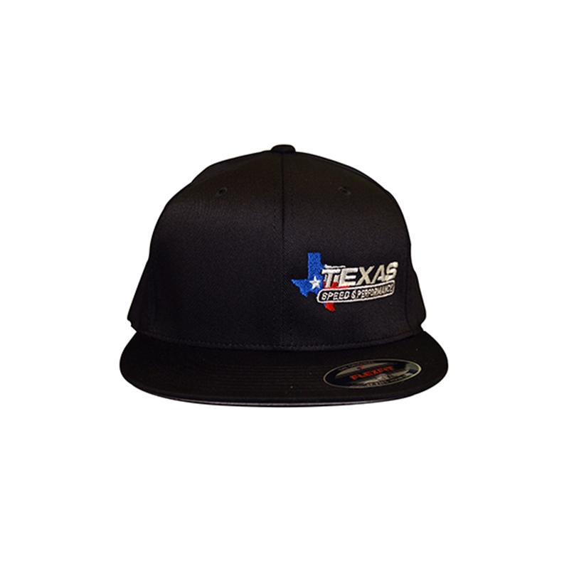 Texas Speed   Performance Black Flat Bill Fitted Cap with TSP Color Logo 323fba0c73e