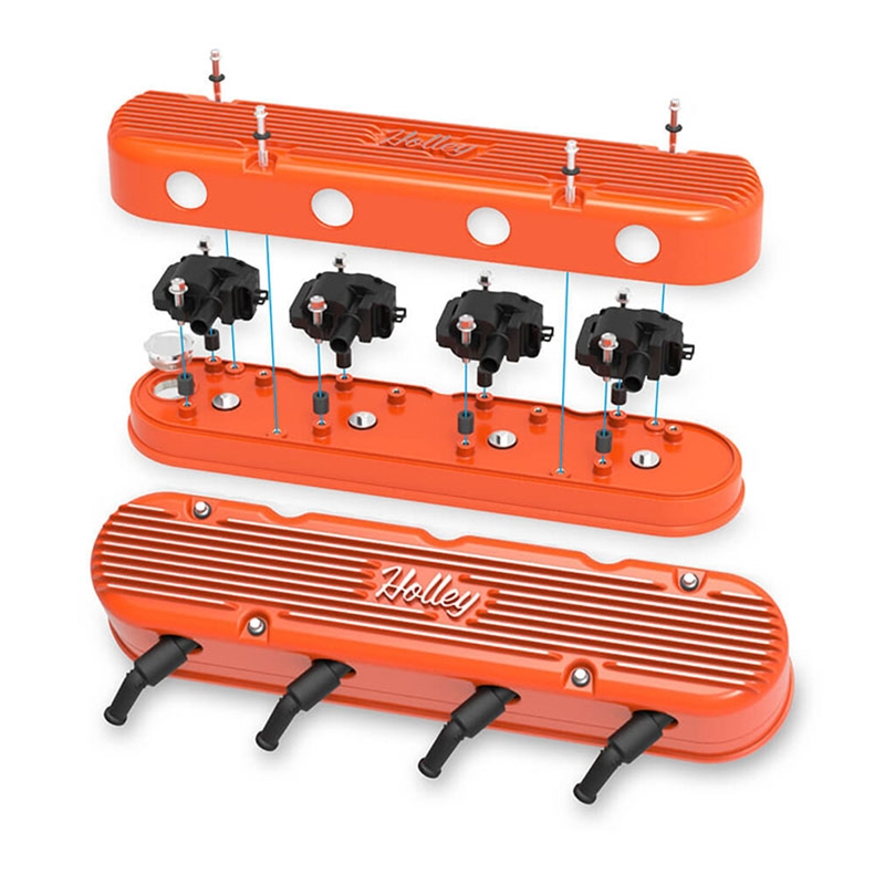 2-piece Holley Vintage Series Cast Aluminum LS Valve Covers with  Coil-Mounting Base & Integrated Coil Cover - Orange Machined Finish